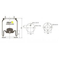 Пневморессора 4004NP05 SAF со стаканом, 2шпильки по центру+воздухМ22