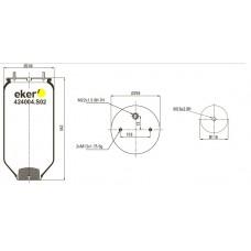 Пневморессора 4004NP02 SAF без стакана  2 шпильки по центру+воздух М22