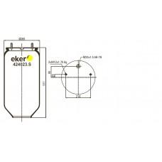 Пневморессора 4023NP SAF, без стакана- 2 шпильки смещены+воздух М22