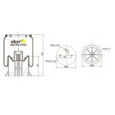 Пневморессора 4158NP03 SCHMITZ со стаканом,  2 отверстия+воздух М22мм