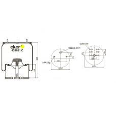 Пневморессора 4881MB со стаканом, 2 шпильки(смещены)+воздух М22мм