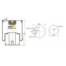 Пневморессора 4882N1P05, MAN со стаканом,  1 шпилька(смещена)+воздух(2 штуцера)