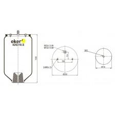 Пневморессора 016512 (SCHMITZ) 2 отверстия(по центру)+штуцер(смещен) М22/12мм. Без стакана