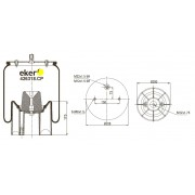 Пневморессора 016512 SCHMITZ со стаканом,  2 отверстия(по центру)+штуцер(смещен) М22/12мм