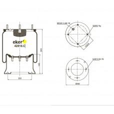 Пневморессора 810MB SAF, ROR со стаканом,  4 шпильки+воздух М22мм