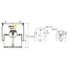 Пневморессора 881MB со стаканом,  2 шпильки(смещены)+воздух М22мм