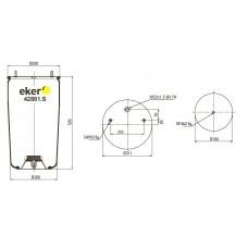 Пневморессора 881MB без стакана BPW, 2 шпильки(смещены)+воздух М22мм