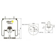Пневморессора 940MB со стаканом сталь,  2 шпильки(смещены)+воздух М22мм  2 болта ( 0542943210 )