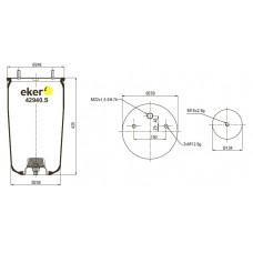 Пневморессора 940MB, BPW  без стакана - 2 шпильки(смещены)+воздух М22мм