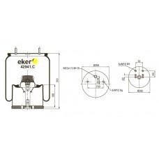 Пневморессора 941MB в сборе с метал стаканом,  2 шпильки(смещены)+воздух М22мм, 2 болта (0542941241)