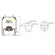 Пневморессора 4004NP03 SAF со стаканом, 2шпильки по центру+воздухМ22