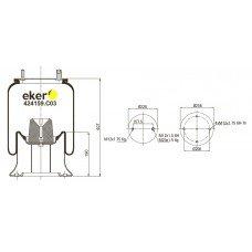 Пневморессора 4159NP03 FRUEHAUF со стаканом,  шпилька+шпилька-штуцер М20/12мм