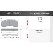 Дисковые тормозные колодки 423102/2-292 RENAULT TRUCKS, VOLVO  с монтажным комплектом