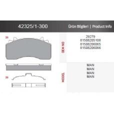 Дисковые тормозные колодки 42325/1-300 MAN с монтажным комплектом