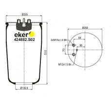 Пневморессора 4882N1P01 MAN  без стакана, 1 шпилька(смещена)+воздух(2 штуцера)
