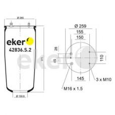 Пневморессора 836M2 DAF, без стакана 3 шпильки+2 штуцера М16мм