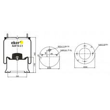 Пневморессора 4810NP05 SAF со стаканом, 2 шпильки(смещены)+воздух М22мм