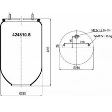 Пневморессора 4810N на SAF без стакана 2 шпильки(смещены)+ воздух М22мм